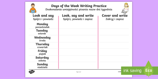 days of the week english polish writing worksheet. Black Bedroom Furniture Sets. Home Design Ideas