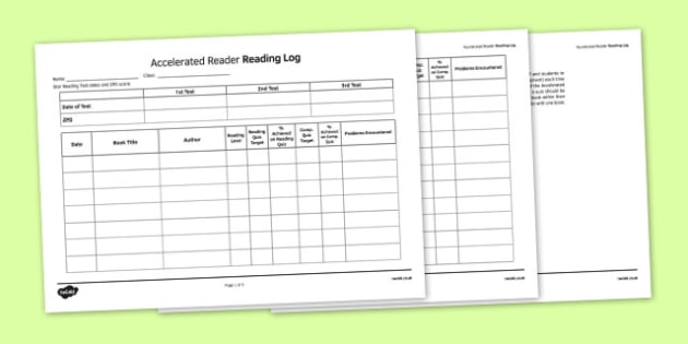 Log Sheet to Support the Teaching on Accelerated Reader - English, KS3, KS2, Reading, Accelerated Reader, Accelerated Reading, Log Sheet, Reading Log