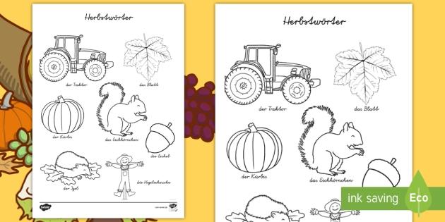 Herbstwörter Anmalbilder - Herbst, Vokabular, Wörter