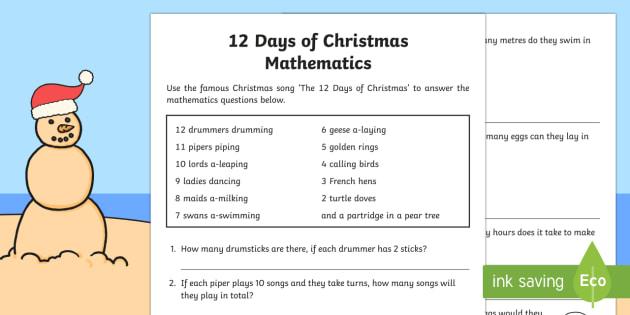 12 Days of Christmas mathematics Activity Sheet