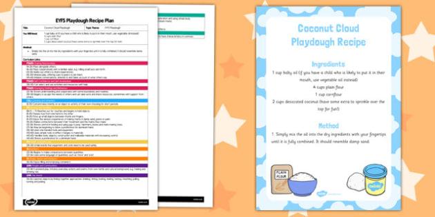 EYFS Coconut Cloud Playdough Plan and Recipe Pack - playdough, recipe