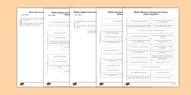 1999 Curriculum Senior Infants Maths Measures Assessment Group Colouring Sheet Pack - assessment checklist, maths, senior infants, group