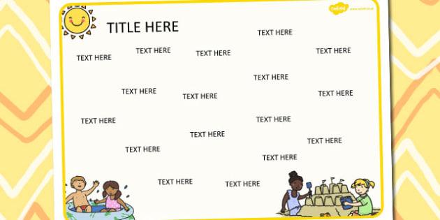 Summer Themed Editable Word Mat - literacy, words, writing, mats