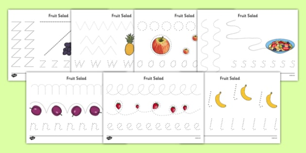 Fruit Salad Pencil Control Sheets - olivers fruit salad, fruit salad, pencil control, pencil, control