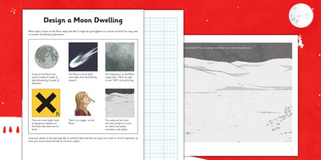 Design a Moon Dwelling Worksheet / Activity Sheet - design, moon dwelling, moon, dwelling, activity, sheet, worksheet