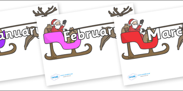 Months of the Year on Sleighs - Months of the Year, Months poster, Months display, display, poster, frieze, Months, month, January, February, March, April, May, June, July, August, September