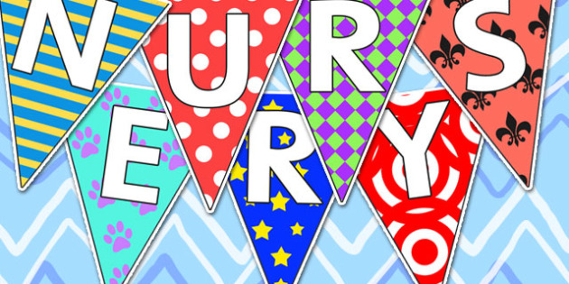 Welcome to Nursery Bunting Pretty Pattern Themed - nursery, welcome to nursery, bunting, themed bunting, display bunting, bunting flags, flag bunting