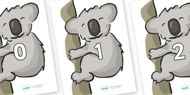 Numbers 0-31 on Koalas - 0-31, foundation stage numeracy, Number recognition, Number flashcards, counting, number frieze, Display numbers, number posters