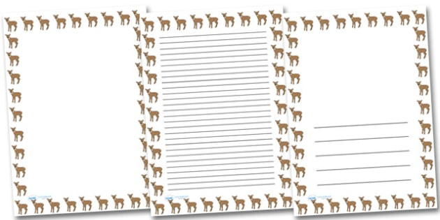 Fawn Portrait Page Borders- Portrait Page Borders - Page border, border, writing template, writing aid, writing frame, a4 border, template, templates, landscape