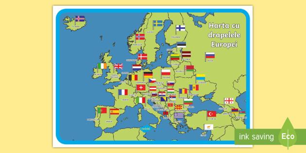 Harta Cu Drapelele Europei Planșă Teacher Made