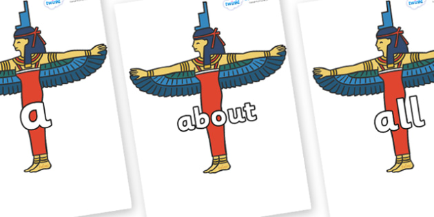 100 High Frequency Words on Egyptians - High frequency words, hfw, DfES Letters and Sounds, Letters and Sounds, display words