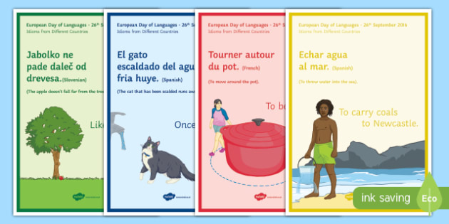Idioms from Different Countries Display Posters