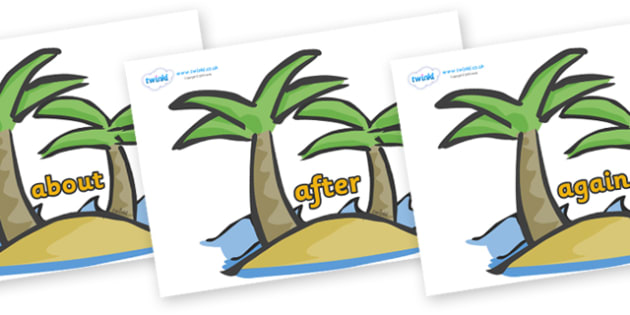 KS1 Keywords on Palm Trees - KS1, CLL, Communication language and literacy, Display, Key words, high frequency words, foundation stage literacy, DfES Letters and Sounds, Letters and Sounds, spelling