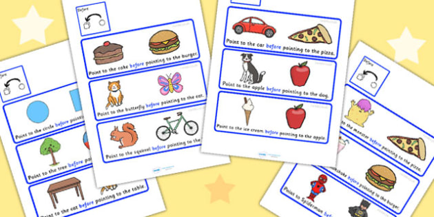 Point To Before Picture Cards - preposition, position, SEN, time