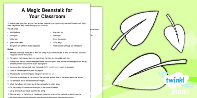 PlanIt Y3 Plants: Jack and the Beanstalk Adult Guidance