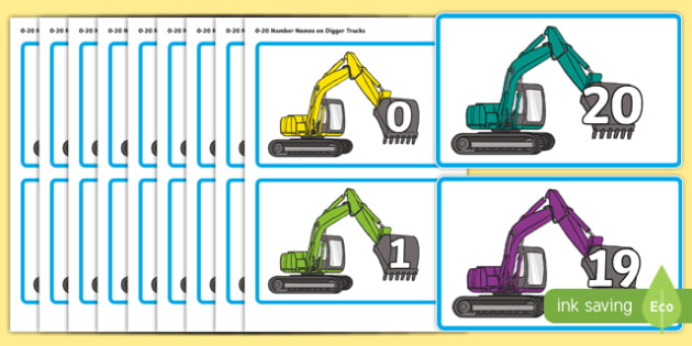 Numbers 0-20 on Digger Trucks - cfe, curriculum for excellence, numbers, 0-20, digger trucks, display