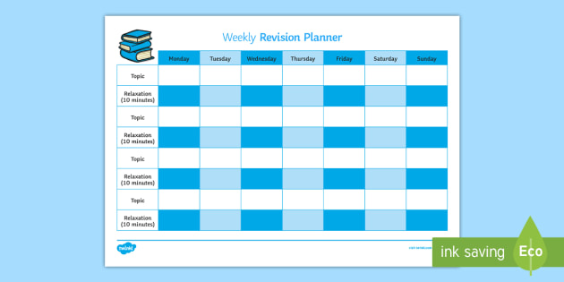 weekly revision timetable young people families case file recording referral chronology