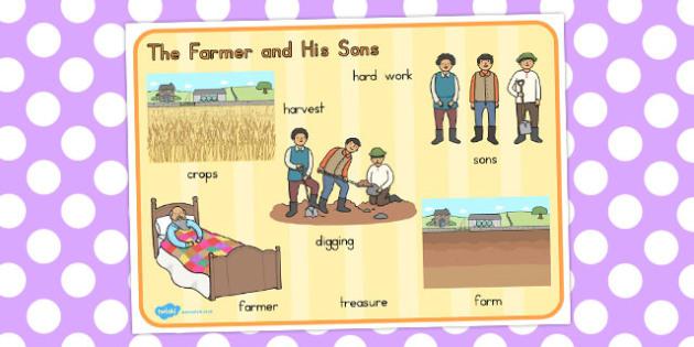 The Farmer and His Sons Word Mat - australia, word, mat, farmer