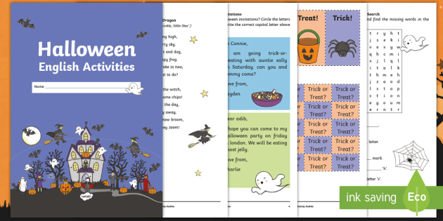 Year 1 Halloween English Activity Booklet - Autumn,, Spelling, Grammar, Punctuation, Comprehension