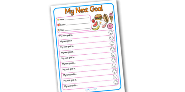 Themed Target and Achievement Sheets Food Themed My Next Goal - Target and Achievement Sheet, My Next Goal Sheet, Target Sheet, Food Themed