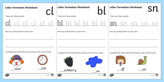 4 Initial Blends Letter Formation Worksheets Phase 4
