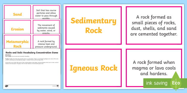 Rocks and Soils Concentration Matching Game - Science Concentration Games, Body Systems, Earth and Sun, Ecology, Weather and Climate, Heat Energy,
