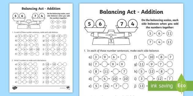 KS1 Balancing Act Addition Worksheet / Activity Sheet - balancing ...