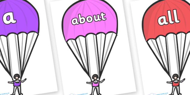 100 High Frequency Words on Parachutes - High frequency words, hfw, DfES Letters and Sounds, Letters and Sounds, display words