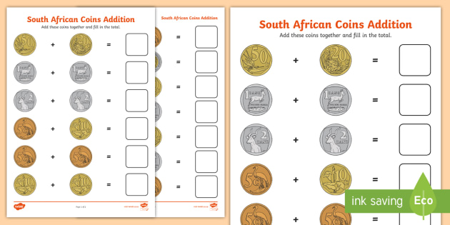 south african coins addition worksheet money addition south african. Black Bedroom Furniture Sets. Home Design Ideas
