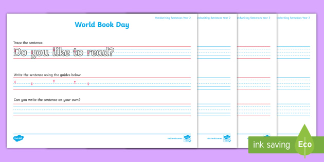 SA World Book Day Year 2 Handwriting Worksheets
