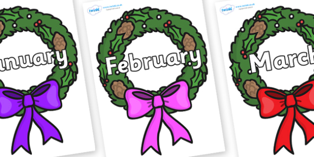Months of the Year on Christmas Wreaths - Months of the Year, Months poster, Months display, display, poster, frieze, Months, month, January, February, March, April, May, June, July, August, September
