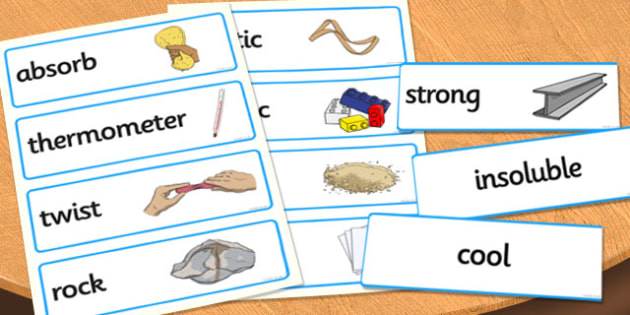 Materials Vocabulary Cards - materials, materials word cards, material properties word cards, materials key words, classifying materials, ks2 science word cards