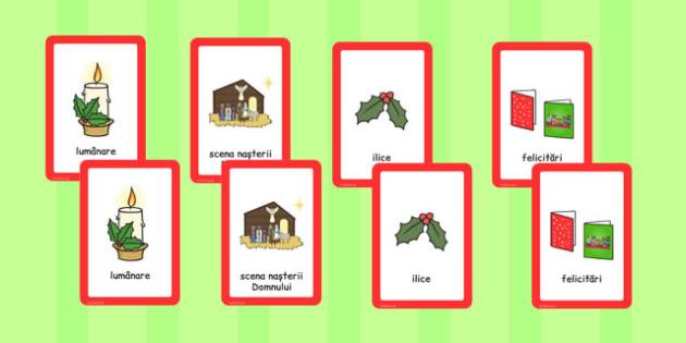 Sărbătoarea Crăciunului - Cartonașe pentru joc de asociere
