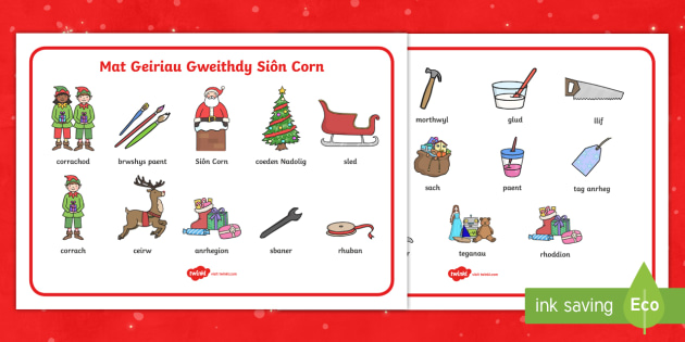 Mat Geiriau Gweithdy Sion Corn - Nadolig, sion corn, groto, gweithdy, geiriau, geirfa, mat,Welsh - Nadolig, sion corn, groto, gweithdy, geiriau, geirfa, mat, Welsh