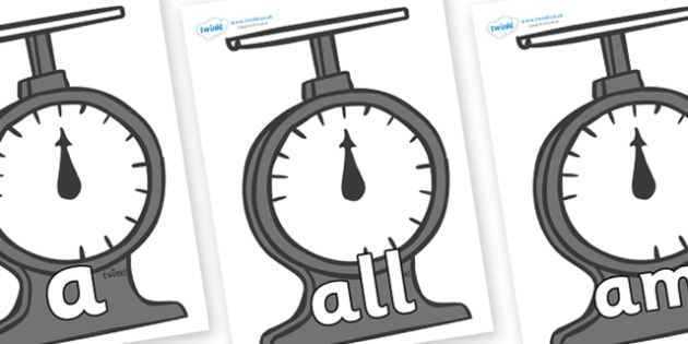 Foundation Stage 2 Keywords on Weighing Scales - FS2, CLL, keywords, Communication language and literacy,  Display, Key words, high frequency words, foundation stage literacy, DfES Letters and Sounds, Letters and Sounds, spelling