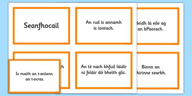 Irish Gaeilge Seanfhocail Display Cards - Irish, Gaeilge, proverbs, seanfhocail, display, posters, cards