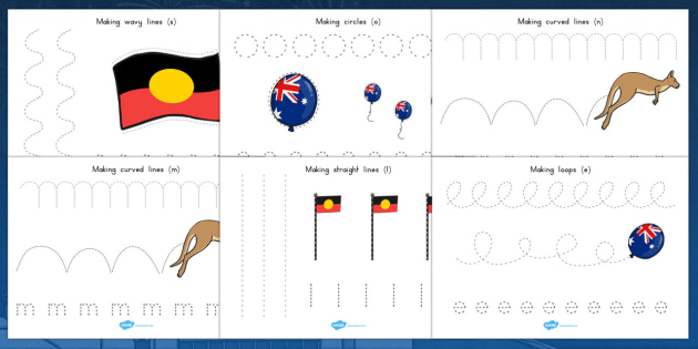 Australia Day Pencil Control Worksheets - worksheet, motor, skill