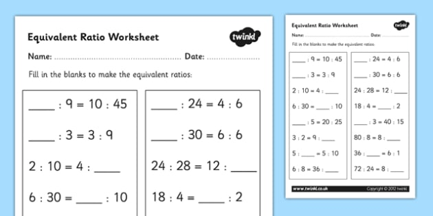 Equivalent Ratio Worksheet - equivalent ratios, ratios, ratios