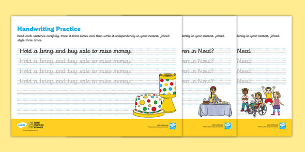 KS1 BBC Children in Need Continuous Cursive Handwriting Practice Worksheets