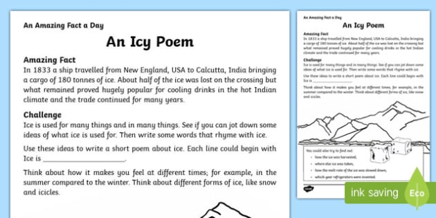 An Icy Poem Activity Sheet, worksheet