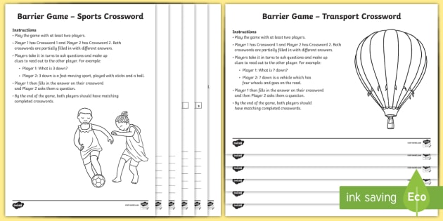 Crossword barrier game activity pack communicative - Lounger for the garden crossword ...