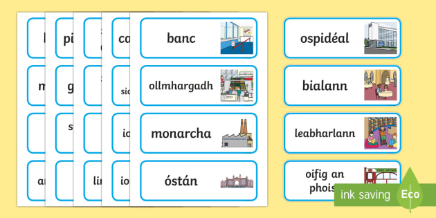 My Area Word Cards Gaeilge - Gaeilge - Sa Bhaile, Irish, my area, mo cheantar, where I live,Irish