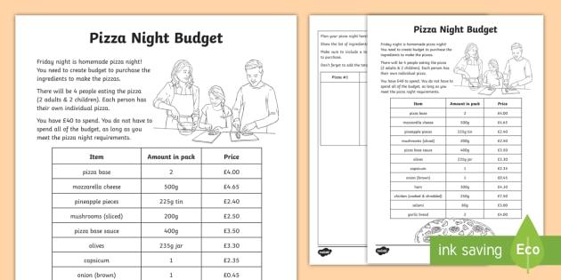 Pizza Night Budget Worksheets Teacher Made