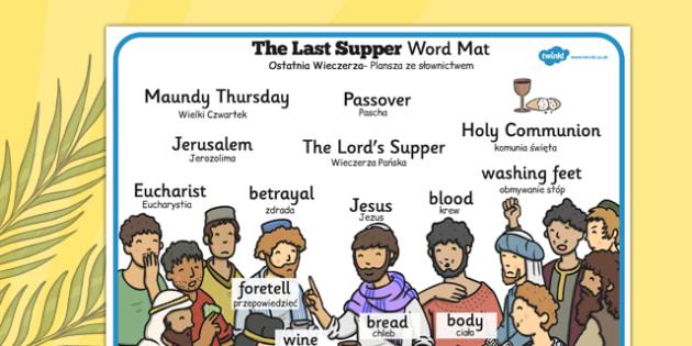 The Last Supper Word Mat Polish Translation - polish, christianity, religion, Easter, words