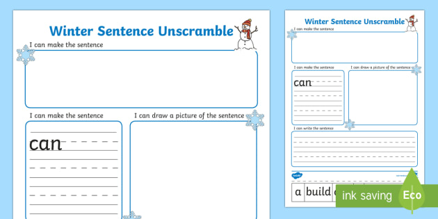 Sentence Unscramble Worksheets - winter, sentence, game