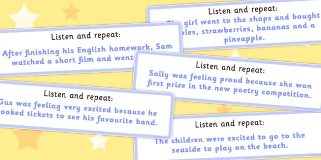 Listen and Repeat 14 Word Length Sentence Cards - visual, aid