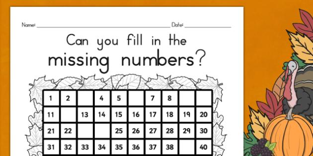 Thanksgiving Missing Numbers Number Square USA - Thanksgiving Math Worksheet