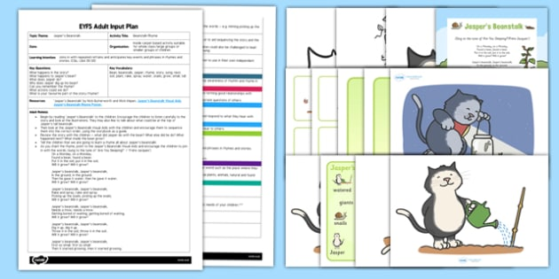 Beanstalk Rhyme EYFS Adult Input Plan and Resource Pack to Support Teaching on Jasper's Beanstalk - EYFS, Early Years planning, adult led, Jasper's Beanstalk, Mick Inkpen, Nick Butterworth, C&L, Communication and Language, song, plants and growth