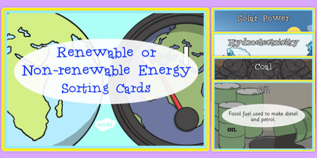 Renewable And Non Renewable Energy Sorting Cards Renewable
