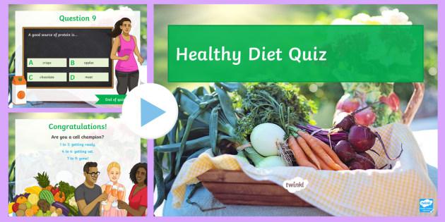Diet Quiz PowerPoint - Diet, Carbohydrate, Protein, Fat, Fibre, Lipid, Nutrient, Mineral, Vitamin